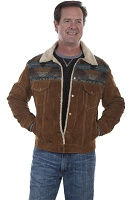 Scully Boar Suede Jean Jacket in Cafe Brown and Black Boar Suede